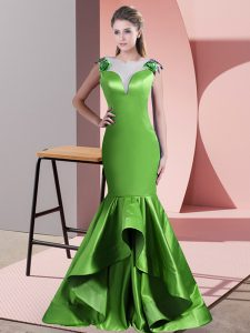Green Satin Side Zipper Dress for Prom Sleeveless Sweep Train Beading and Lace and Appliques