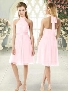 Pink Zipper Halter Top Ruching Prom Gown Chiffon Sleeveless