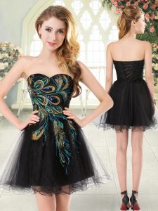 Black A-line Sweetheart Sleeveless Tulle Mini Length Lace Up Beading and Appliques Prom Party Dress
