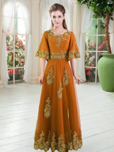 Custom Designed Orange A-line Tulle Scalloped Half Sleeves Lace Floor Length Lace Up Prom Gown