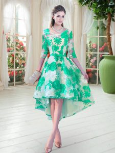 Best Selling Turquoise Lace Up Scoop Belt Prom Dresses Lace Half Sleeves