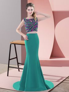 Fashion Sweep Train Two Pieces Prom Dresses Turquoise Scoop Satin Sleeveless Backless
