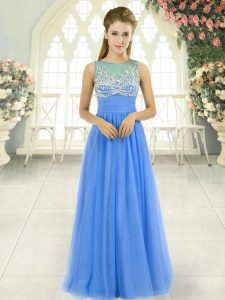 Blue Sleeveless Tulle Side Zipper for Prom and Party and Military Ball