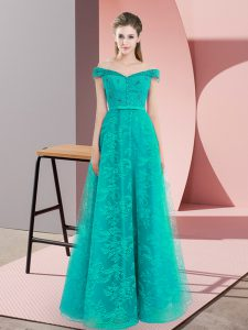 Turquoise A-line Beading and Lace Dress for Prom Lace Up Sleeveless Floor Length