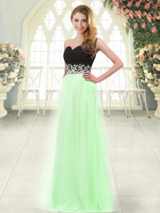 Fitting Tulle Sleeveless Floor Length Prom Party Dress and Appliques