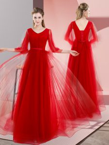 Custom Made Red Lace Up Beading Long Sleeves Floor Length