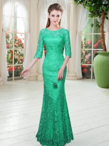 Excellent Half Sleeves Floor Length Lace Zipper Homecoming Dress with Turquoise