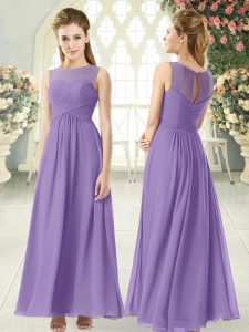 Captivating Scoop Sleeveless Zipper Prom Gown Lavender Chiffon