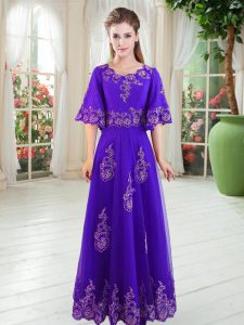 Nice Tulle Scoop Half Sleeves Lace Up Lace Prom Evening Gown in Purple