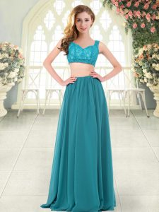 Teal Straps Zipper Beading and Lace Homecoming Dress Sleeveless