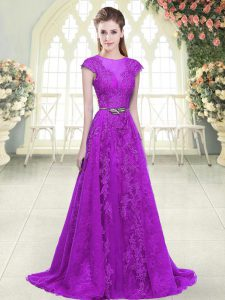 Eye-catching Purple A-line Tulle Scoop Cap Sleeves Lace and Appliques and Pick Ups Zipper Prom Evening Gown Sweep Train
