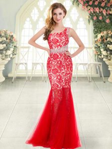 Flare One Shoulder Sleeveless Prom Evening Gown Floor Length Beading and Lace Red Tulle