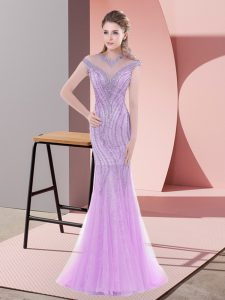 Lilac Mermaid Scoop Cap Sleeves Tulle Sweep Train Zipper Beading and Lace