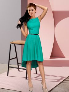 Sleeveless High Low Belt Lace Up Dress for Prom with Turquoise