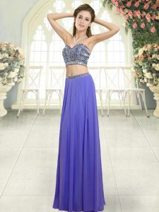 Most Popular Sleeveless Floor Length Beading Backless Prom Dresses with Lavender