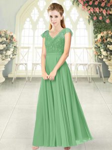 High End Green Cap Sleeves Ankle Length Lace Zipper Prom Dress