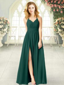 Modest Peacock Green Sleeveless Chiffon Zipper Prom Evening Gown for Prom and Party