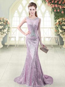 Custom Fit Lilac Mermaid Sequined Scoop Sleeveless Beading and Sequins Zipper Prom Party Dress Brush Train
