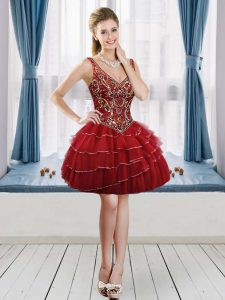 Affordable Wine Red A-line V-neck Sleeveless Tulle Mini Length Lace Up Beading and Ruffled Layers Dress for Prom