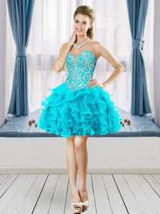 Aqua Blue Sleeveless Mini Length Beading Lace Up Prom Party Dress Sweetheart