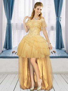 Hot Selling Gold A-line Tulle Off The Shoulder Short Sleeves Beading High Low Lace Up Prom Evening Gown