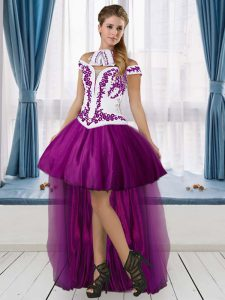 Tulle Off The Shoulder Sleeveless Lace Up Embroidery Dress Like A Star in Purple