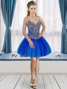 Top Selling Mini Length A-line Sleeveless Royal Blue Evening Dress Lace Up