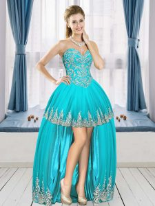 Pretty Aqua Blue Sleeveless High Low Beading and Appliques Lace Up Prom Dress Sweetheart