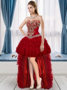 Edgy Wine Red A-line Sweetheart Sleeveless Organza High Low Lace Up Beading and Embroidery and Ruffles Evening Dress