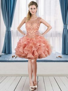 Peach Lace Up Scoop Beading and Ruffles Prom Dresses Tulle Sleeveless