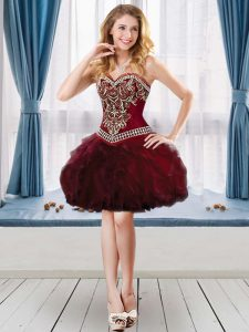 Burgundy Prom Evening Gown Prom and Party with Beading and Ruffles Sweetheart Sleeveless Lace Up
