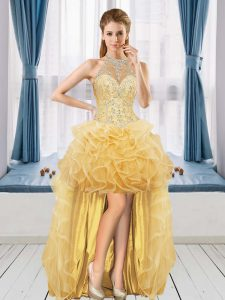 Beading and Ruffles Prom Dresses Gold Lace Up Sleeveless High Low