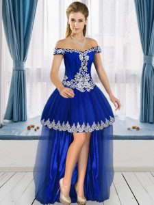 Luxury Royal Blue Sleeveless Tulle Lace Up Celebrity Dress for Prom and Party and Military Ball