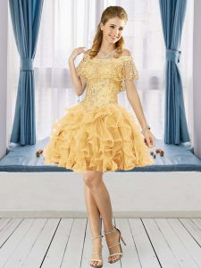 Exceptional Short Sleeves Off The Shoulder Lace Up Knee Length Beading and Ruffles Homecoming Dress Off The Shoulder