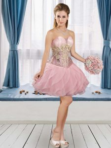 High Quality Pink A-line Appliques Prom Dress Lace Up Tulle Sleeveless Mini Length