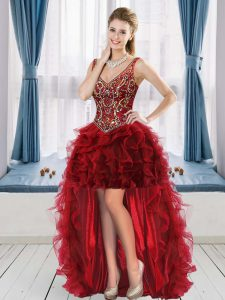 Dazzling Sleeveless V-neck Lace Up High Low Beading and Ruffles Prom Evening Gown V-neck
