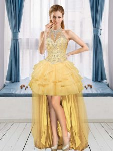 Gold A-line Tulle Halter Top Sleeveless Beading and Ruffles High Low Lace Up Evening Dress