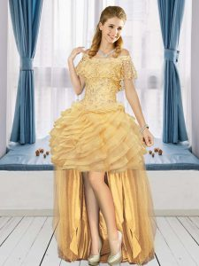 Tulle Off The Shoulder Short Sleeves Lace Up Beading and Ruffled Layers Homecoming Dress in Gold