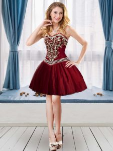 Mini Length Lace Up Homecoming Dress Burgundy for Prom and Party with Beading