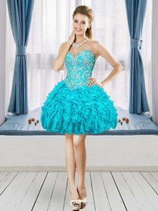 Luxurious Aqua Blue Organza Lace Up Sweetheart Sleeveless Mini Length Prom Party Dress Beading and Embroidery and Ruffles