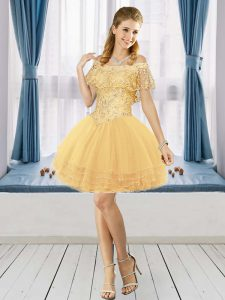 A-line Prom Gown Gold Off The Shoulder Tulle Short Sleeves Mini Length Lace Up