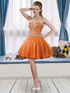 Orange Red Sweetheart Neckline Beading Dress for Prom Sleeveless Lace Up