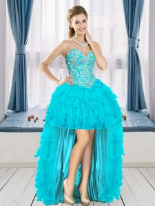 Free and Easy Aqua Blue A-line Beading and Ruffles Dress for Prom Lace Up Tulle Sleeveless High Low
