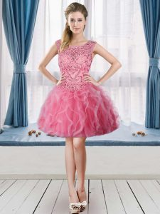 Rose Pink Tulle Lace Up Scoop Sleeveless Mini Length Evening Dress Beading and Ruffles