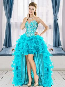 Cheap Sleeveless High Low Beading and Ruffles Lace Up with Aqua Blue