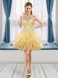 Noble Gold Halter Top Neckline Beading and Ruffles Dress for Prom Sleeveless Lace Up