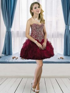 Customized Burgundy A-line Sweetheart Sleeveless Tulle Mini Length Lace Up Beading and Ruffles Dress for Prom