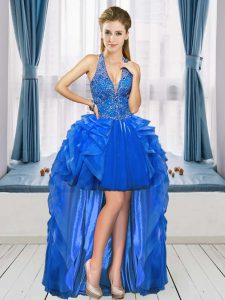 Edgy Royal Blue Sleeveless Lace Up Prom Dress for Prom and Party