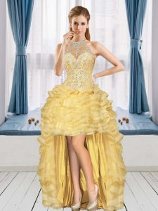 Fabulous Sleeveless High Low Beading and Ruffles Lace Up with Gold