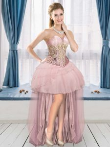 Classical Pink Lace Up Sweetheart Ruffled Layers Prom Dress Tulle Sleeveless